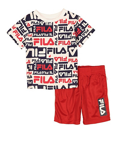 Toddler Boys Fila Printed Tee and Shorts,RED,large