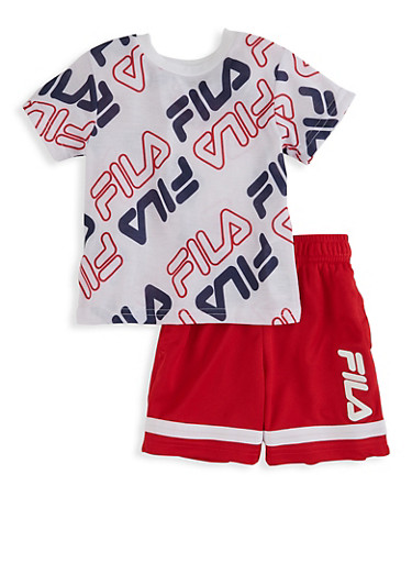 Toddler Boys Fila Printed Tee and Shorts Set,RED,large