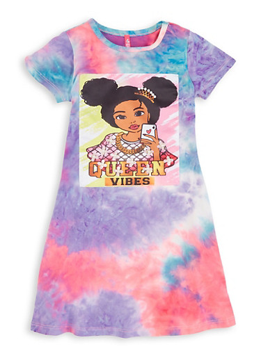 Toddler Girls Tie Dye Queen Vibes Patch T Shirt Dress,PURPLE,large