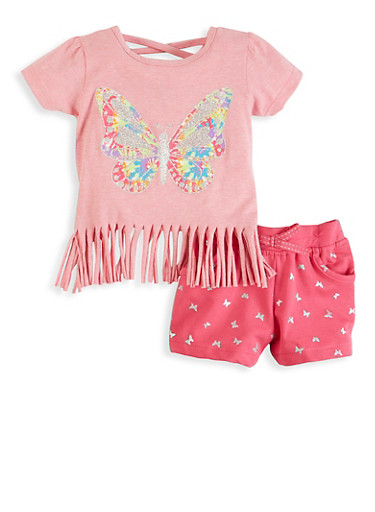 Toddler Girls Butterfly Graphic Fringe Top and Shorts,PINK,large