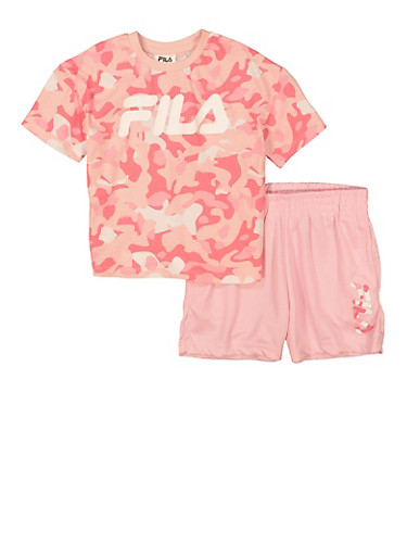 Toddler Girls Fila Graphic Camo Tee and Shorts,PINK,large