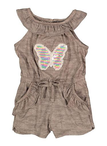Toddler Girls Reversible Sequin Butterfly Romper,GRAY,large