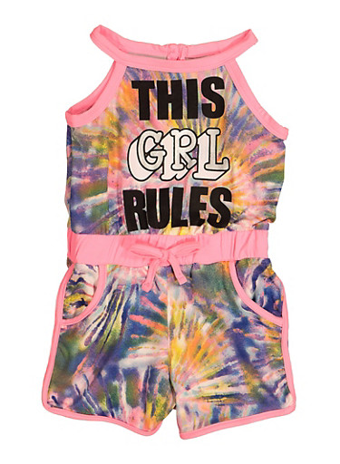 Toddler Girls This Girl Rules Tie Dye Romper,PINK,large