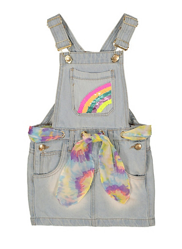 Toddler Girls Reversible Sequin Rainbow Overall Dress,LIGHT WASH,large