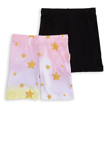 Toddler Girls 2 Pack Tie Dye Star Print Biker Shorts,MULTI COLOR,large