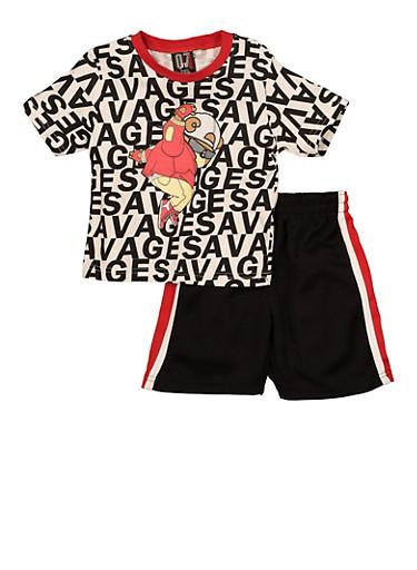 Toddler Boys Bear Graphic Savage Print Tee and Shorts,WHITE,large
