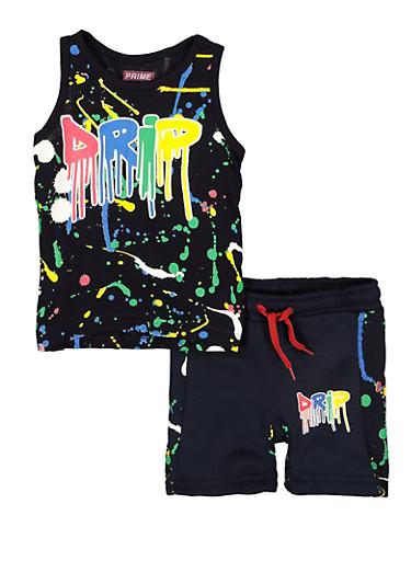 Toddler Boys Paint Splatter Drip Tank Top and Sweatshorts,NAVY,large