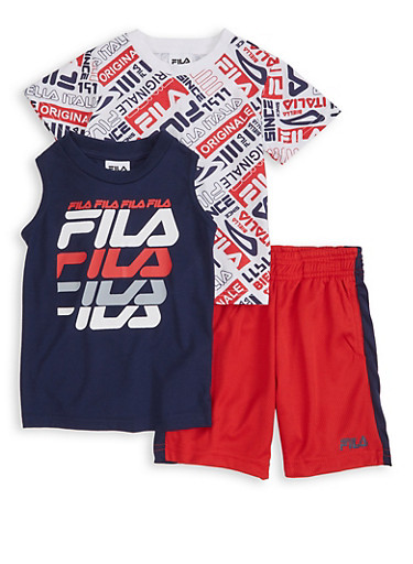Toddler Boys Fila Printed Tops and Shorts,RED,large