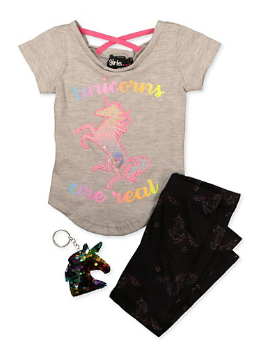 Baby Girls Unicorns Are Real Tee and Leggings Set,GRAY,large