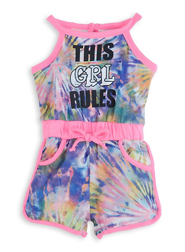 Baby Girls This Girl Rules Tie Dye Romper,PINK,large