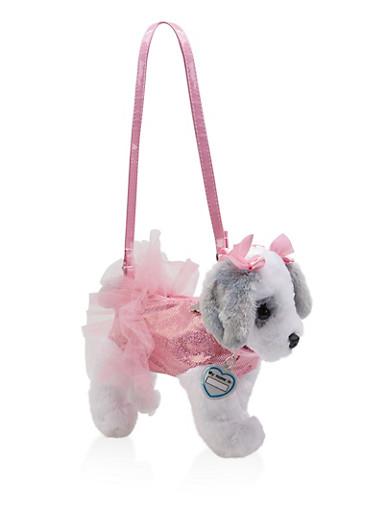 Girls Plush Shimmer Puppy Purse,PINK,large