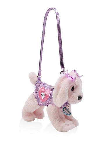 Girls Plush Sequined Dog Bag,PINK,large