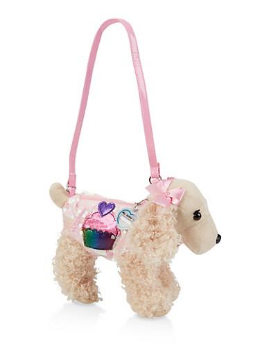 Girls Plush Sequined Dog Bag | 1595038480106,PINK,large
