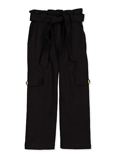 Girls 4-6x Paper Bag Waist Cargo Pants,BLACK,large