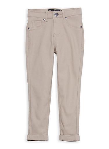Girls 4-6x Hyperstretch Cuffed Pants,KHAKI,large