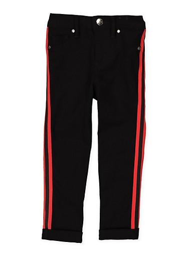 Girls 4-6x Varsity Stripe Tape Hyperstretch Pants,RED,large