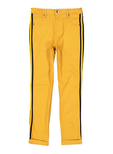 Girls 4-6x Striped Tape Trim Hyperstretch Pants,MUSTARD,large