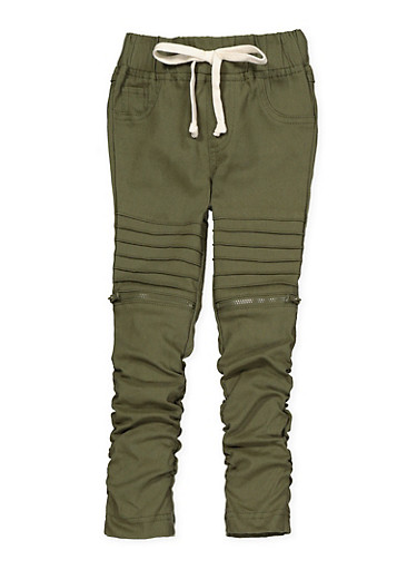 Girls 4-6x Ruched Hyperstretch Moto Jeggings,OLIVE,large