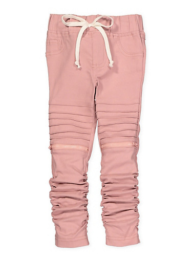 Girls 4-6x Ruched Hyperstretch Moto Jeggings | Pink,ROSE,large