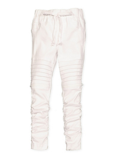 Girls 4-6x Hyperstretch Moto Jeggings | White,WHITE,large