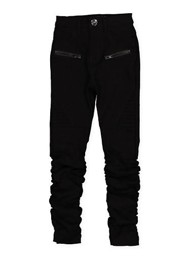 Girls 4-6x Ruched Hyperstretch Moto Jeggings | Black,BLACK,large