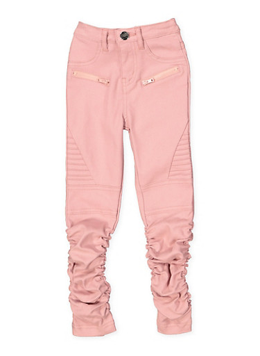Girls 4-6x Hyperstretch Moto Jeggings | Rose,ROSE,large