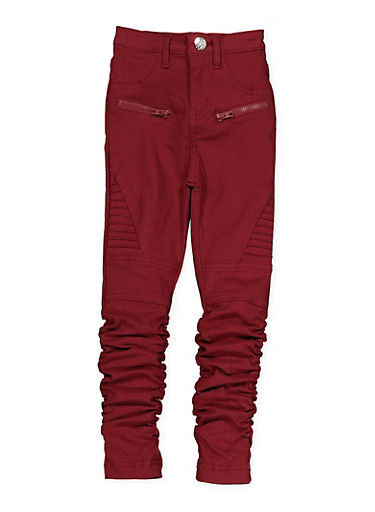 Girls 4-6x Ruched Hyperstretch Moto Jeggings | Burgundy,RED,large