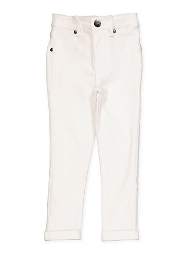 Girls 4-6x Fixed Cuff Hyperstretch Moto Jeggings,WHITE,large