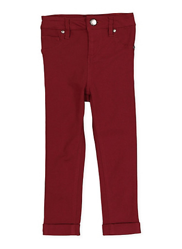 Girls 4-6x Cuffed Hyperstretch Pants | Burgundy,RED,large