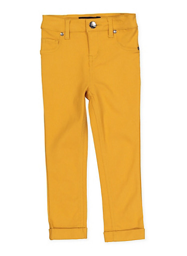 Girls 4-6x Cuffed Hyperstretch Pants | Yellow,MUSTARD,large