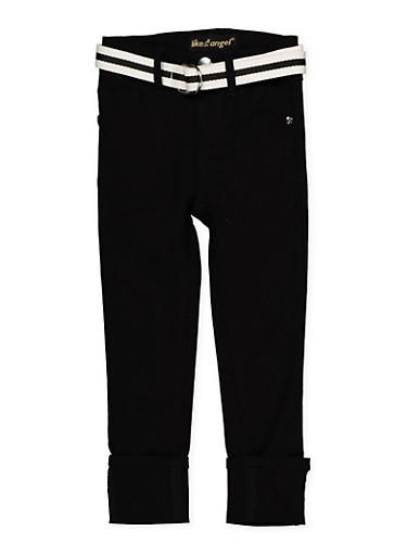 Girls 4-6x Belted Hyperstretch Pants | Black,BLACK,large