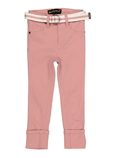 Girls 4-6x Belted Hyperstretch Pants | Pink,ROSE,large