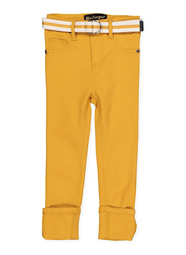 Girls 4-6x Belted Hyperstretch Pants  Yellow,MUSTARD,large
