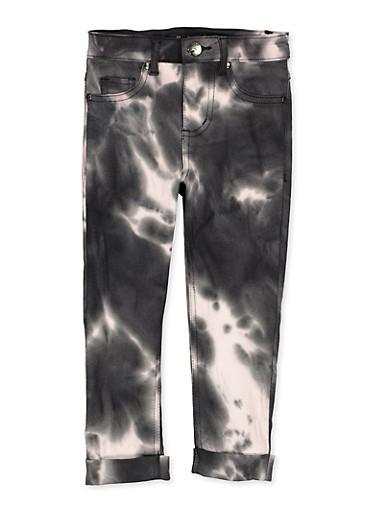 Girls 4-6x Tie Dye Hyperstretch Pants,BLACK/WHITE,large