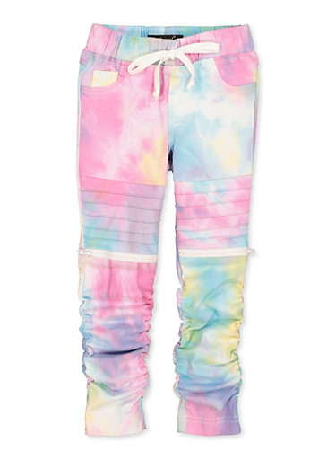 Girls 4-6x Tie Dye Hyperstretch Moto Jeggings,MULTI COLOR,large