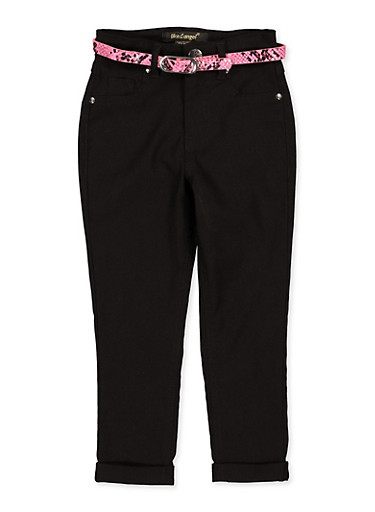 Girls 4-6x Fixed Cuff Belted Hyperstretch Pants,NEON PINK,large