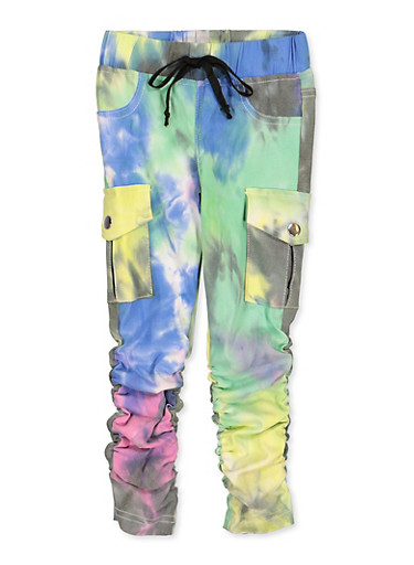 Girls 4-6x Hyperstretch Tie Dye Moto Jeggings,BLACK,large
