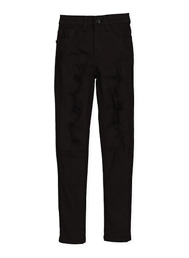 Girls 4-6x Patch and Repair Twill Pants,BLACK,large