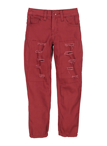 Girls 4-6x Patch and Repair Twill Pants,WINE,large