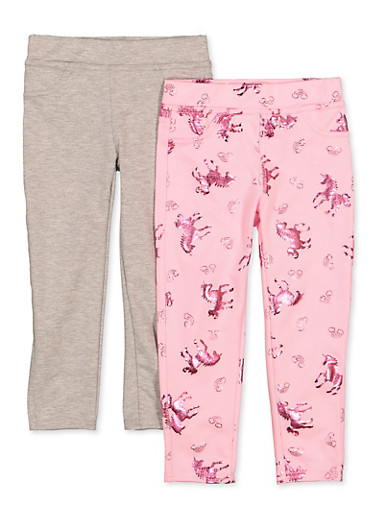 Girls 4-6x 2 Pack Foil Horse Print and Solid Leggings,PINK,large