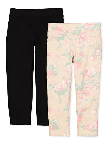 Girls 4-6x 2 Pack Floral and Solid Leggings,IVORY,large