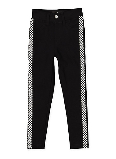 Girls 4-6x Checkered Tape Hyperstretch Jeggings,BLACK,large
