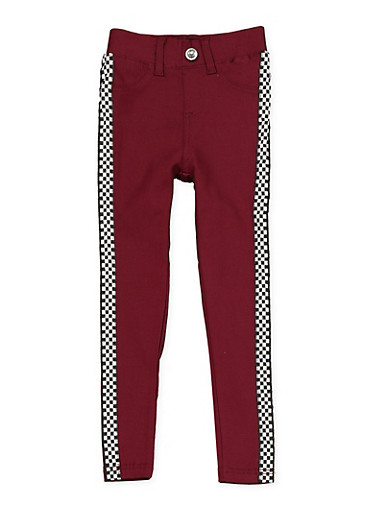 Girls 4-6x Checkered Tape Hyperstretch Jeggings | Burgundy,WINE,large