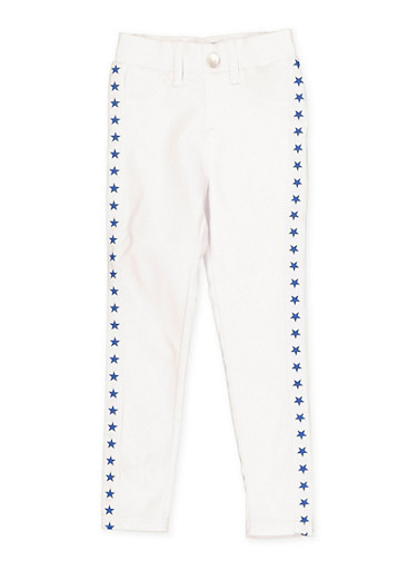 Girls 4-6x Star Tape Hyperstretch Jeggings,WHITE,large