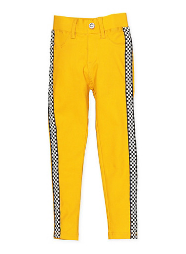Girls 4-6x Checkered Tape Hyperstretch Jeggings | Yellow,MUSTARD,large