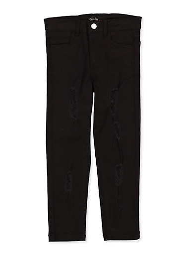 Girls 4-6x Black Distressed Twill Pants,BLACK,large
