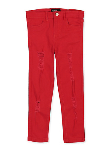 Girls 4-6x Red Distressed Twill Pants,RED,large