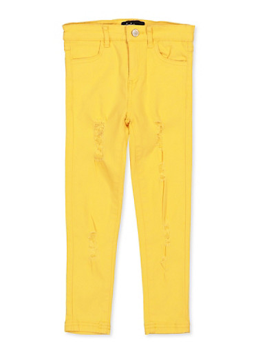 Girls 4-6x Yellow Distressed Twill Pants,MUSTARD,large