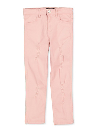Girls 4-6x Pink Distressed Twill Pants,ROSE,large