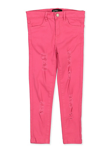 Girls 4-6x Fuchsia Distressed Twill Pants,FUCHSIA,large